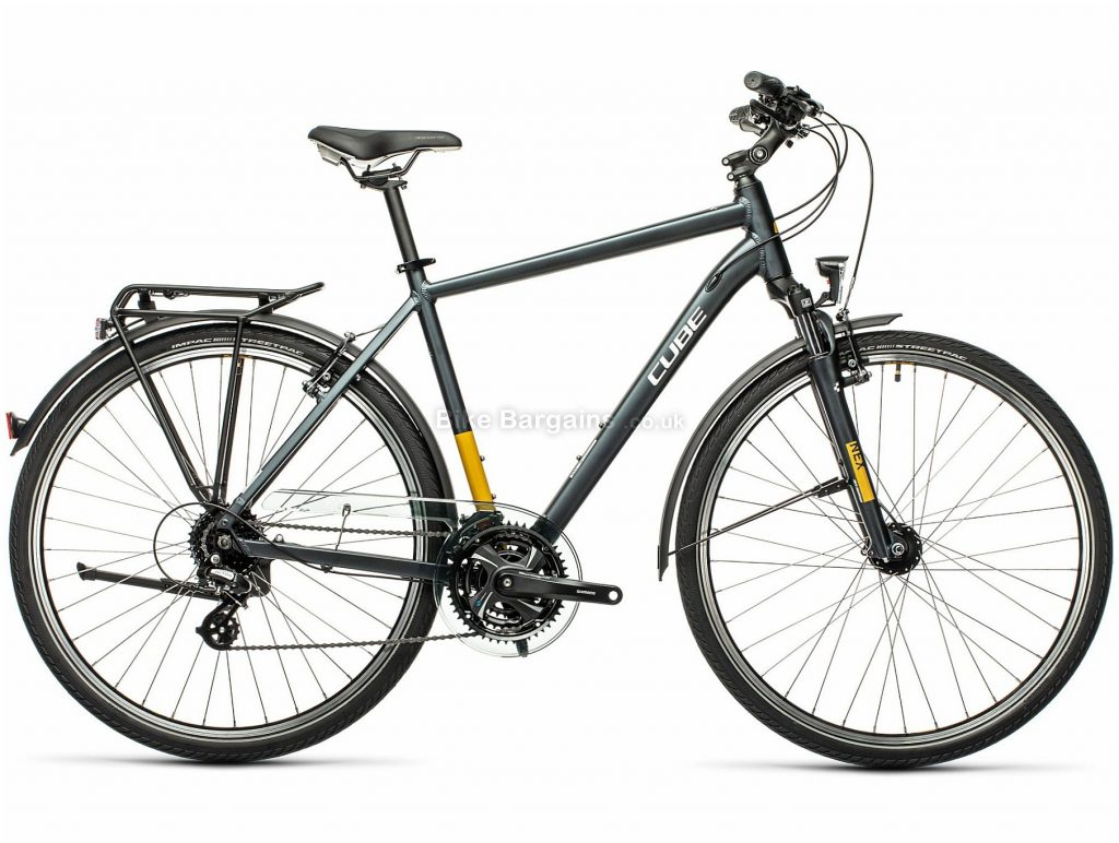 "Cube Touring Alloy City Bike 2021 22"", Grey, Yellow, Alloy Frame, 24 Speed, Caliper Brakes, 700c Wheels, Triple Chainring, 16.5kg"