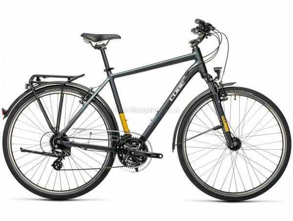 "Cube Touring Alloy City Bike 2021 19"", Grey, Yellow, Alloy Frame, 24 Speed, Caliper Brakes, 700c Wheels, Triple Chainring, 16.5kg"
