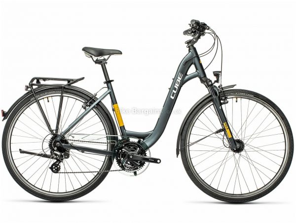 """Cube Touring Easy-Entry Alloy City Bike 2021 21"""", Grey, Yellow, Alloy Frame, 24 Speed, Caliper Brakes, 700c Wheels, Triple Chainring, 16.5kg"""