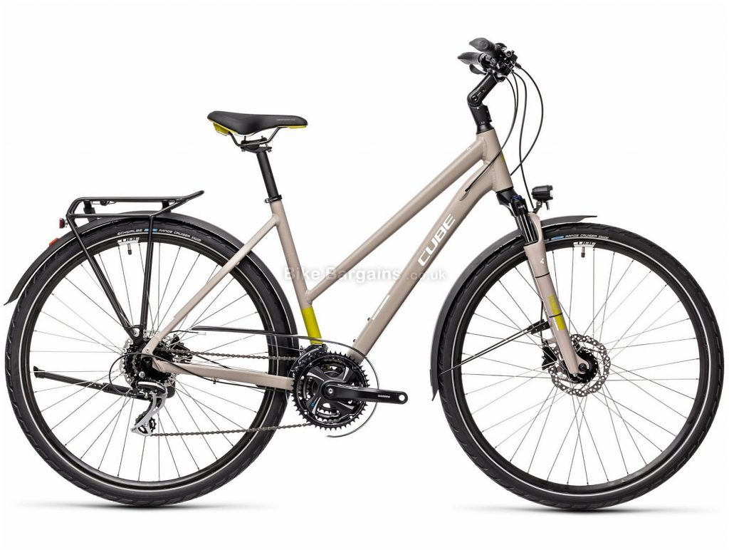 """Cube Touring Pro Trapeze Alloy City Bike 2021 19"""", Grey, Green, Alloy Frame, 24 Speed, Disc Brakes, 700c Wheels, Triple Chainring, 17.1kg"""