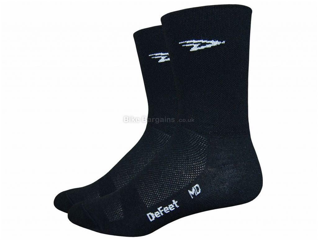 DeFeet Aireator D-Logo Double Cuff Socks S, White, Black, Men's, Nylon, Coolmax, Lycra