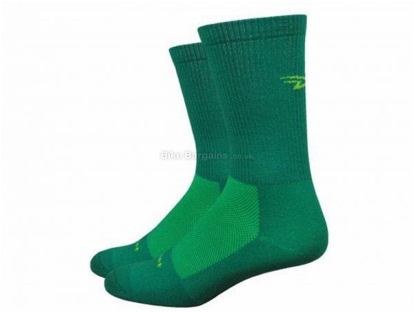 """DeFeet Levitator Trail 6"""" D-Logo Socks S, Blue, Green, Men's, Nylon, Polyester, Lycra"""