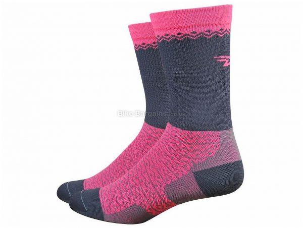 "Defeet Levitator Lite 5"" Socks S, Pink, Grey, Men's, Nylon, Polyester, Lycra"
