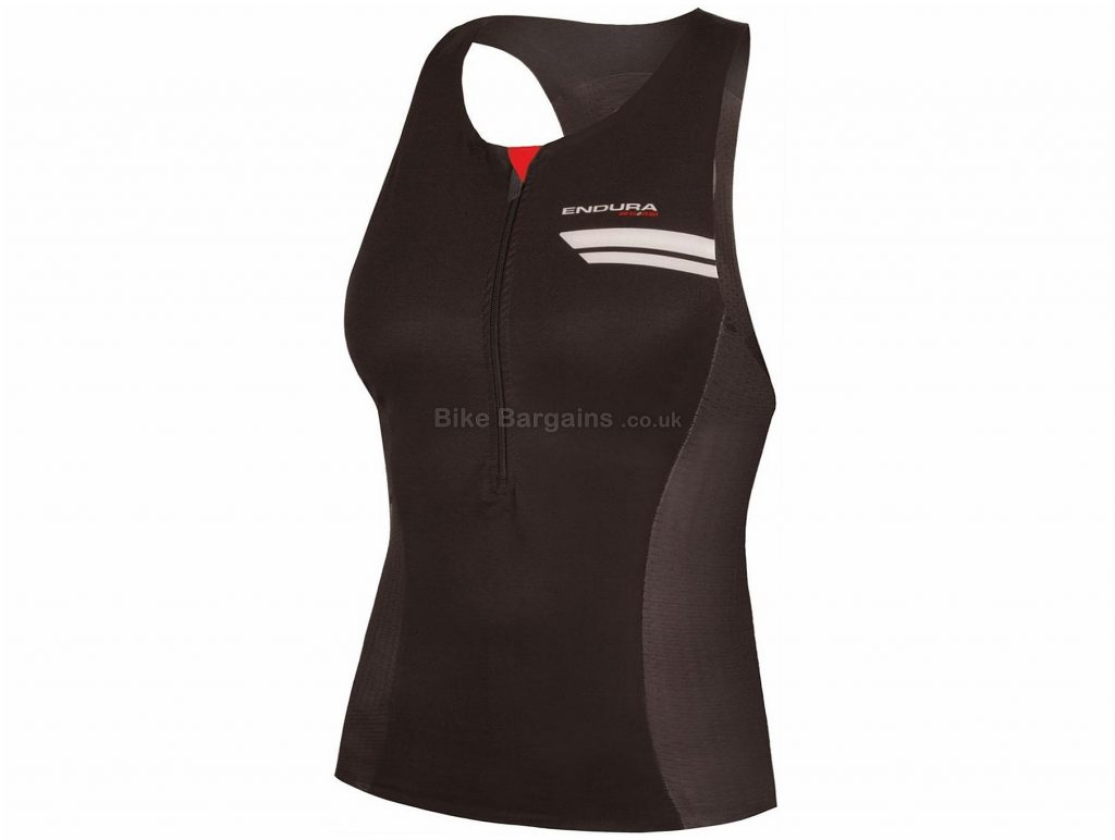 Endura QDC Ladies Tri Sleeveless Jersey XS,S,M,L, Black, Ladies, Sleeveless, Polyester, Elastane