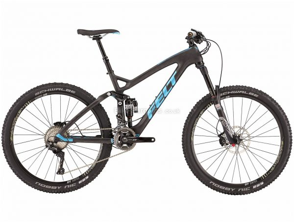 "Felt Decree 2 Carbon Full Suspension Mountain Bike 2017 22"", Black, Blue, Carbon Frame, 27.5"" Wheels, Full Suspension, Disc Brakes, Double Chainring, Men's, 22 Speed"