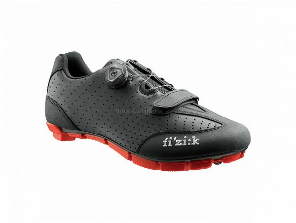 Fizik M3B Uomo MTB Shoes 40,48, Black, Red, 350g, Boa, Velcro, Carbon