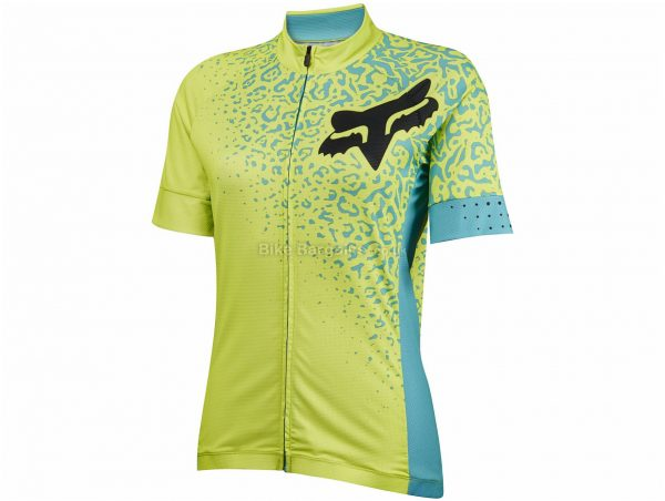 Fox Ladies Switchback Comp Short Sleeve Jersey XL, Yellow, Turquoise, Ladies, Short Sleeve, Polyester