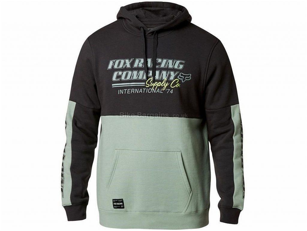 Fox Pit Stop Pullover Fleece Hoodie S, Black, Green, Men's, Long Sleeve, 280g, Cotton, Polyester, Fleece