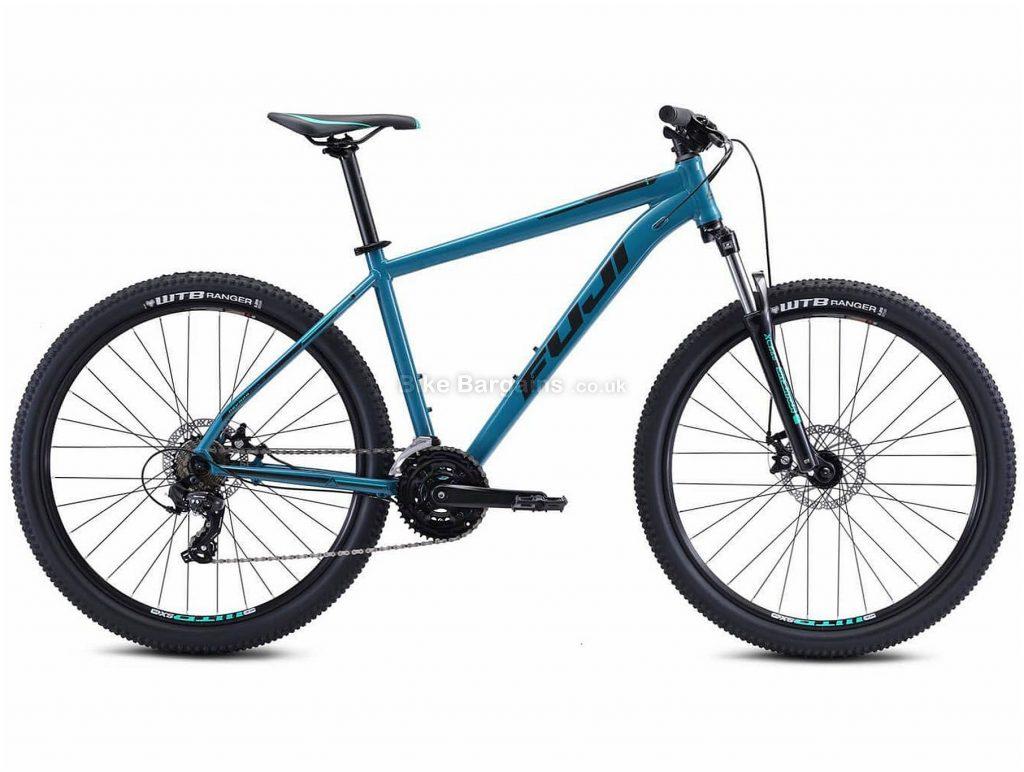 "Fuji Nevada 27.5 1.9 Alloy Hardtail Mountain Bike 2021 17"",19"", Blue, Grey, Alloy Frame, 21 Speed, Disc Brakes, 27.5"" Wheels, Triple Chainring, Hardtail"