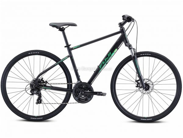 "Fuji Traverse 1.7 Alloy Urban City Bike 2021 21"", Black, Green, Alloy Frame, 21 Speed, Disc Brakes, 700c Wheels, Triple Chainring"