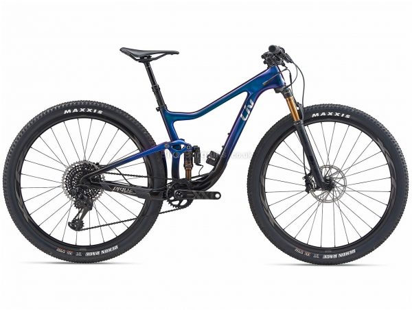 "Giant Liv Pique Advanced Pro 0 29er Ladies Carbon Full Suspension Mountain Bike 2020 XS,M, Blue, Black, Carbon Frame, 29"" Wheels, Full Suspension, Disc Brakes, Single Chainring, Ladies, 12 Speed"
