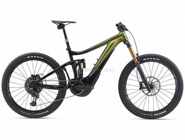 "Giant Reign E+ 0 Pro 27.5"" Alloy Full Suspension Electric Mountain Bike 2020 S, Green, Black, Alloy Frame, 27.5"" Wheels, Full Suspension, Disc Brakes, Single Chainring, Men's, 12 Speed"