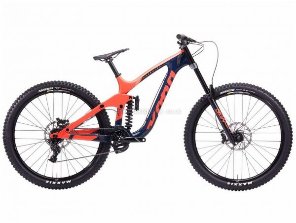 "Kona Operator Cr 29er Dh Carbon Full Suspension Mountain Bike 2020 M, Orange, Blue, Carbon Frame, 29"" Wheels, Full Suspension, Disc Brakes, Single Chainring, Men's, 7 Speed"