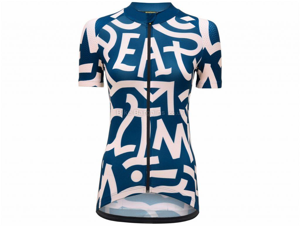 Mavic Ladies Death Climb Short Sleeve Jersey L,XL, Blue, Pink, Ladies, Short Sleeve, Polyester, Elastane