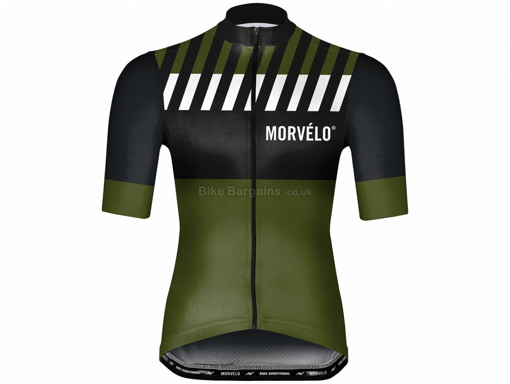 Morvelo Bahn Short Sleeve Jersey L,XXL, Black, Green, Men's, Short Sleeve, Polyester