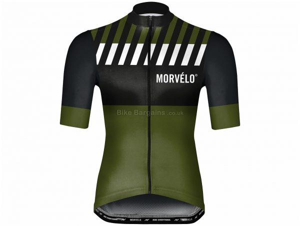 Morvelo Bahn Short Sleeve Jersey L,XXL, Black, Green, Men's, Short Sleeve, Polyester