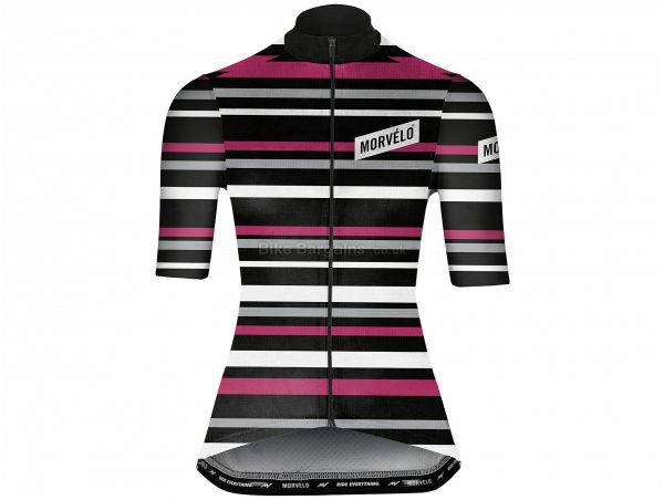 Morvelo Ladies Solo Short Sleeve Jersey XL, Black, Pink, White, Ladies, Short Sleeve, Polyester