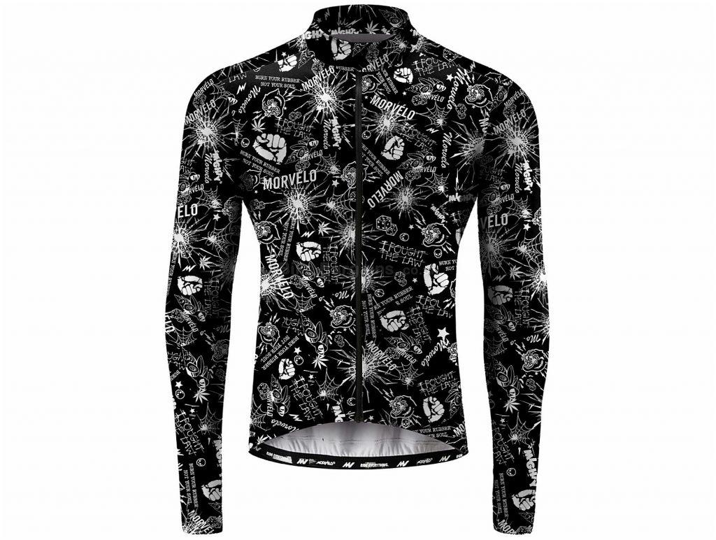 Morvelo Smash Long Sleeve Jersey XS,S,M,L,XL,XXL, Black, White, Men's, Long Sleeve, Polyester