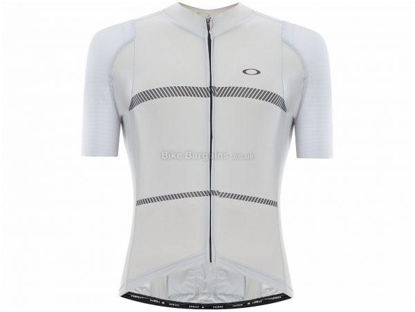 Oakley Jawbreaker Premium Short Sleeve Jersey L, White, Black, Men's, Short Sleeve, Nylon, Elastane