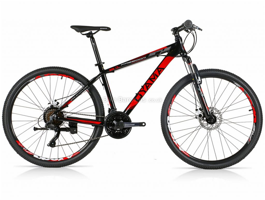 """Oyama Freedom 2.1 Alloy Hardtail Mountain Bike 15"""",17"""", Black, White, Red, 27.5"""", Alloy Frame, 21 Speed, Hardtail, Front Suspension, Triple Chainring, Disc"""