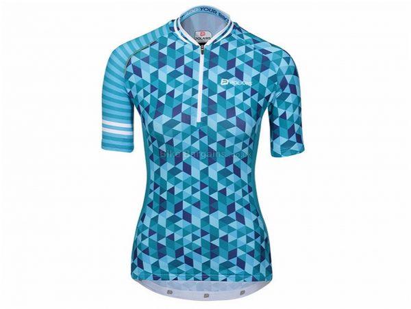 Polaris Ladies Vision Short Sleeve Jersey 8,10,12,14,16, Pink, Blue, Ladies, Short Sleeve, Polyester, Elastane