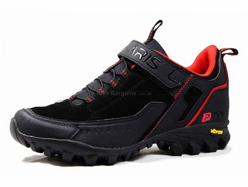 Polaris Splinter MTB Shoes 40,43,44, Black, Red, Men's, 800g, Laces, Velcro, Nylon, Rubber, Synthetic Leather