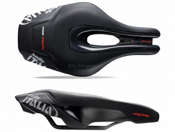 Selle Italia Iron Evo Kit Carbonio Superflow TT Saddle 256mm, 132mm, Black, White, Red, Men's, 240g, Carbon Rails, Road usage