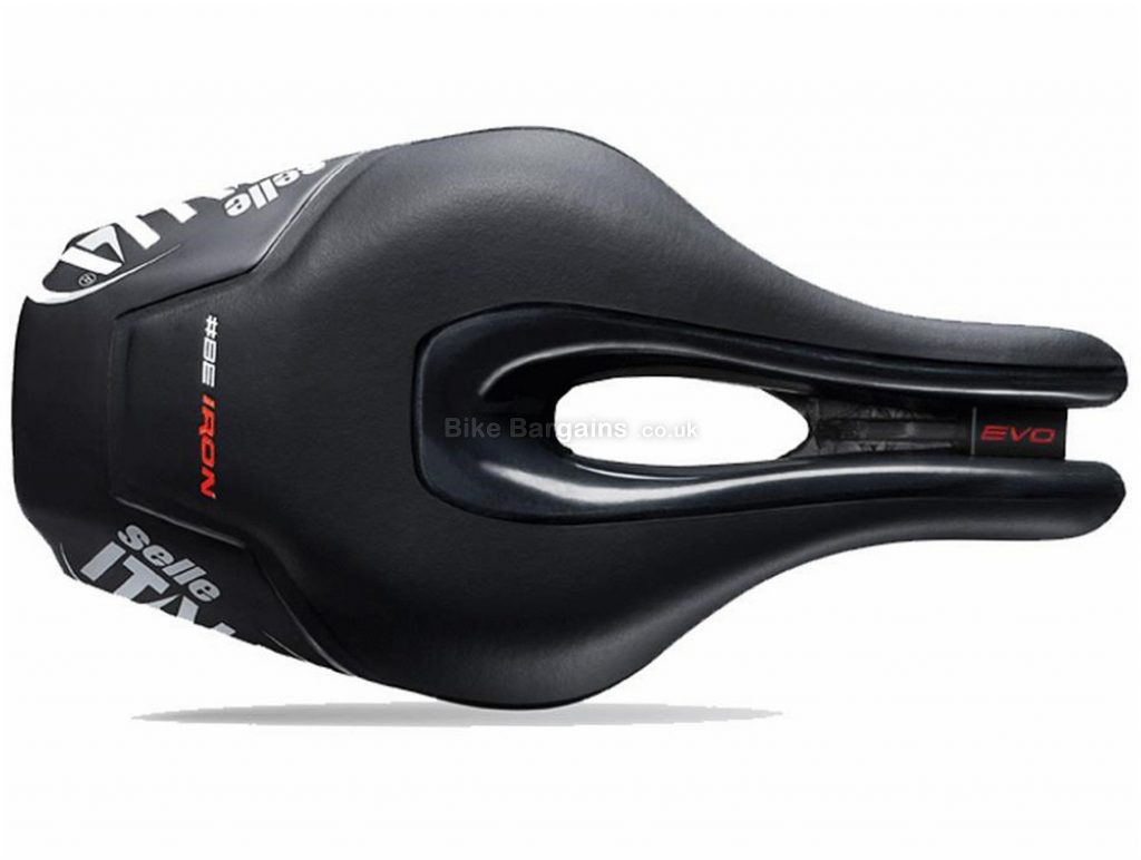 Selle Italia Iron Evo Kit TI 316 Superflow TT Saddle 256mm, 132mm, Black, White, Red, Men's, 245g, Titanium Rails, Road usage