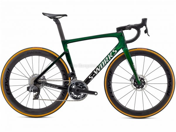 Specialized S-works Tarmac Sl7 Sram Red Etap Axs Carbon Road Bike 2021 49cm, Green, Black, Carbon Frame, 700c Wheels, Disc Brakes, Double Chainring, Men's, 24 Speed