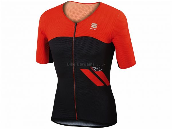 Sportful R&D Cima Short Sleeve Jersey L, Black, Grey, Men's, Short Sleeve, 115g, Polyester, Elastane