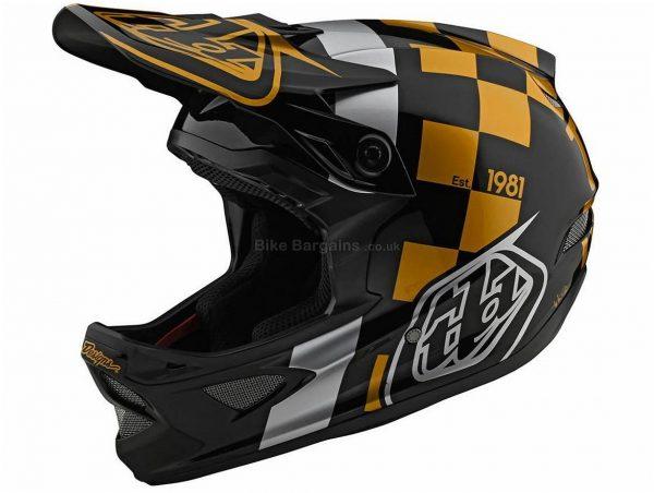 Troy Lee Designs D3 Fibrelite RaceShop Full Face MTB Helmet 2020 XL, Black, Gold, Grey, Men's, 20 vents, 1.225kg, Fibreglass