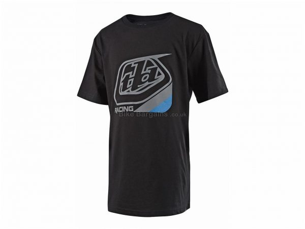 Troy Lee Designs Youth Precision T-Shirt XL, Black, Blue, Short Sleeve, Cotton, Polyester