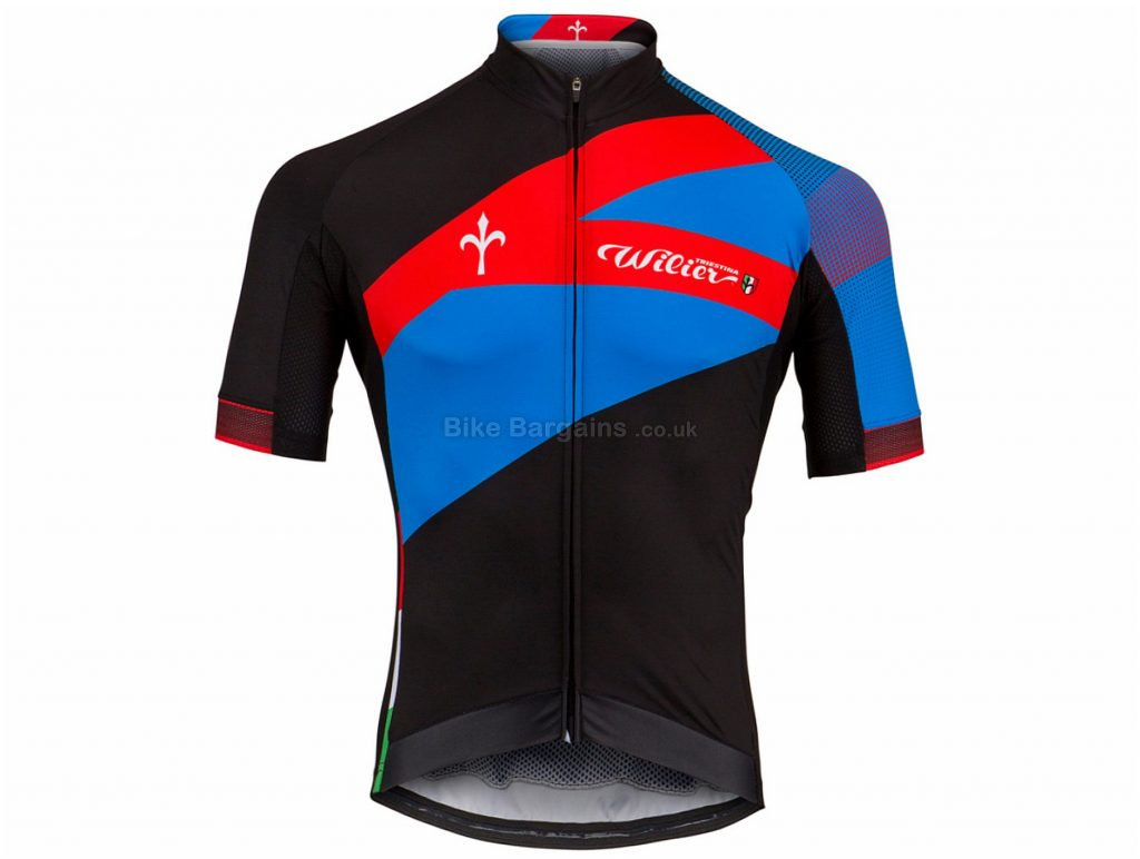 Wilier Spark Short Sleeve Jersey S, Black, Blue, Red, Men's, Short Sleeve, Polyester