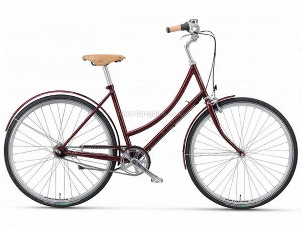 Batavus Vintage Ladies Steel City Bike 2020 58cm, Red, Steel frame, 7 Speed, 700c wheels, Caliper Brakes, Single Chainring, Rigid Frame