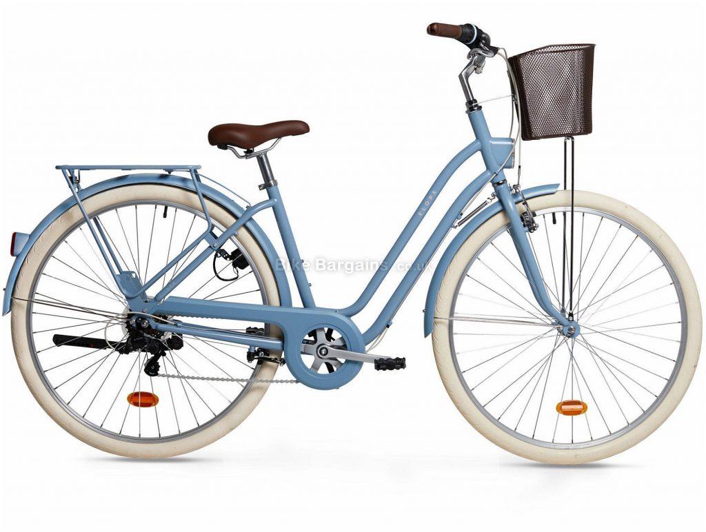 B'twin Elops 520 Low Frame Steel City Bike S,M,L,XL, Blue, White, Steel Frame, 700c Wheels, 19.1kg, 6 Speed, Caliper Brakes, Single Chainring