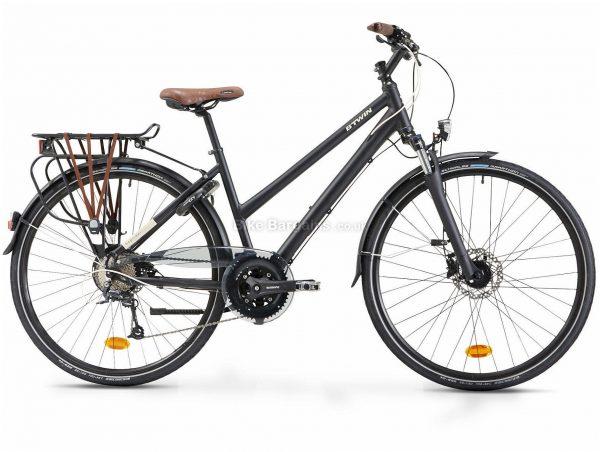 B'twin Elops Hoprider 900 Long Distance Low Frame Alloy City Bike L, Black, Alloy Frame, 700c Wheels, 19.3kg, 27 Speed, Disc Brakes, Triple Chainring