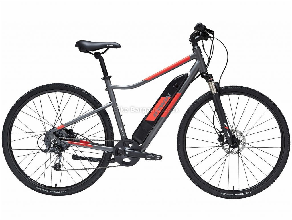 B'twin Elops Riverside 500 E Alloy Electric City Bike M,L, Grey, Black, Red, Alloy Frame, 700c Wheels, 21.8kg, 8 Speed, Disc Brakes, Single Chainring