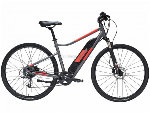 B'twin Elops Riverside 500 E Alloy Electric City Bike M,L, Grey, Black, Red, Alloy Frame, 700c Wheels, 21.8kg, 8 Speed, Disc Brakes, Single Chainring
