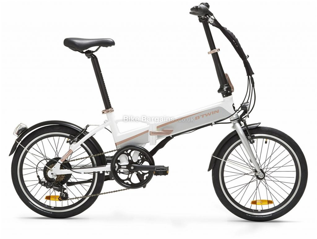 "B'twin Riverside Tilt 500 Electric Alloy Folding City Bike M, White, Pink, Grey, Alloy Frame, 20"" Wheels, 18.6kg, 6 Speed, Caliper Brakes, Single Chainring"