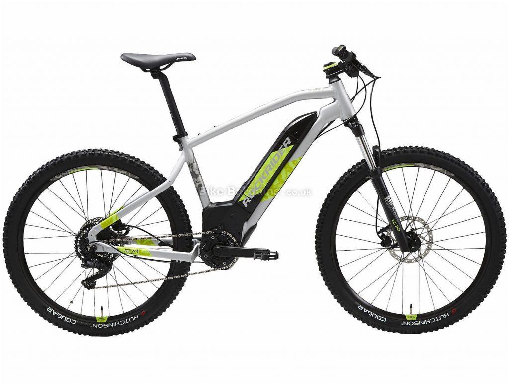 "B'twin Rockrider 27.5"" E-ST 520 Alloy Hardtail Electric Mountain Bike S, Grey, Green, Black, Alloy Frame, 27.5"" Wheels, 22.5kg, 9 Speed, Disc Brakes, Single Chainring"