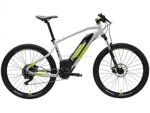 "B'twin Rockrider 27.5"" E-ST 520 Alloy Hardtail Electric Mountain Bike S,M,L, Grey, Green, Black, Alloy Frame, 27.5"" Wheels, 22.5kg, 9 Speed, Disc Brakes, Single Chainring"
