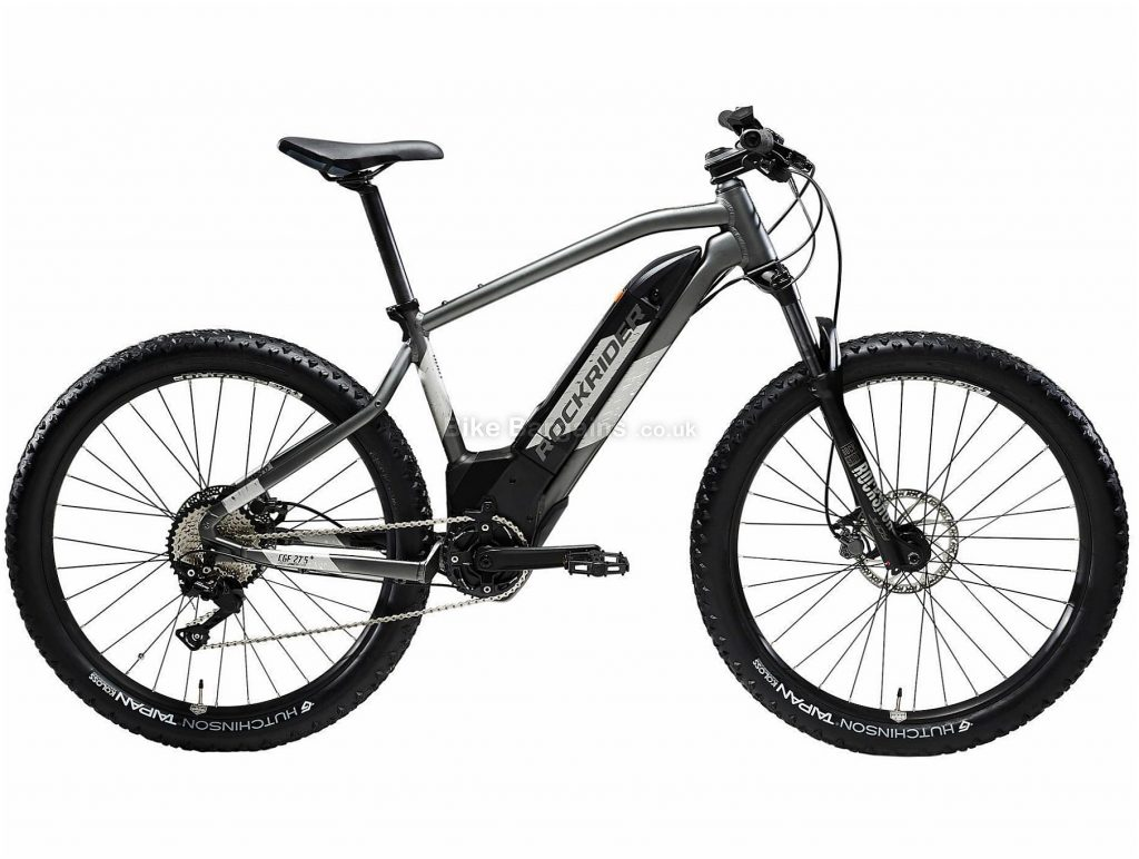 "B'twin Rockrider 27.5"" E-ST 900 Alloy Hardtail Electric Mountain Bike L, Grey, Black, Alloy Frame, 27.5"" Wheels, 21.9kg, 10 Speed, Disc Brakes, Single Chainring"