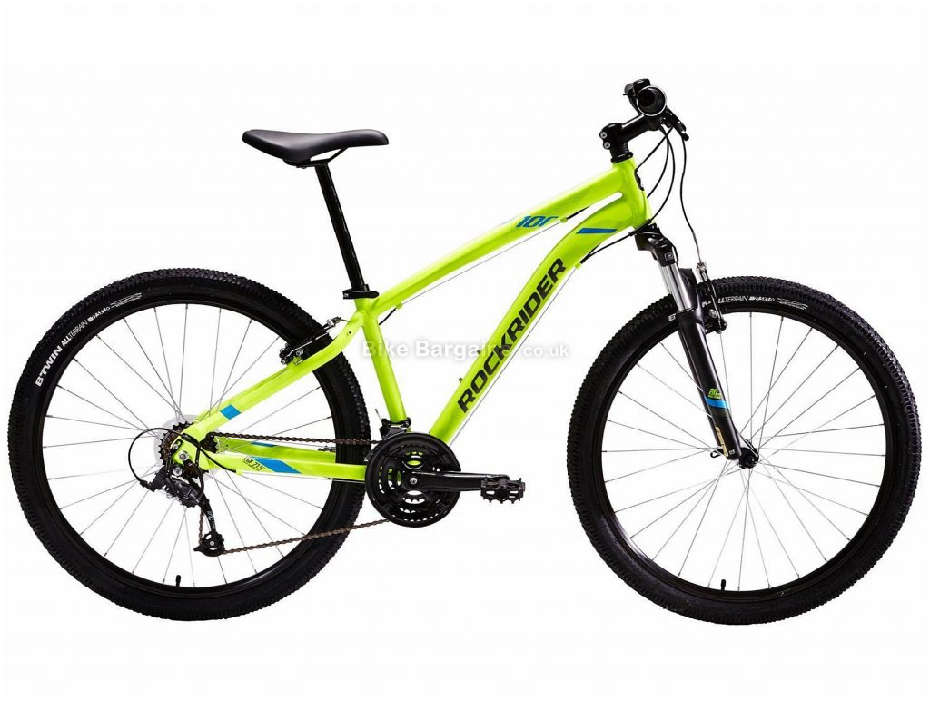 "B'twin Rockrider 27.5"" ST 100 Alloy Hardtail Mountain Bike XS,S,M,L,XL, Grey, Yellow, Alloy Frame, 27.5"" Wheels, 15.3kg, 21 Speed, Caliper Brakes, Triple Chainring"