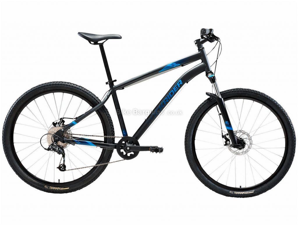 "B'twin Rockrider 27.5"" ST 120 Alloy Hardtail Mountain Bike L, Black, Blue, Alloy Frame, 27.5"" Wheels, 15.1kg, 9 Speed, Disc Brakes, Single Chainring"
