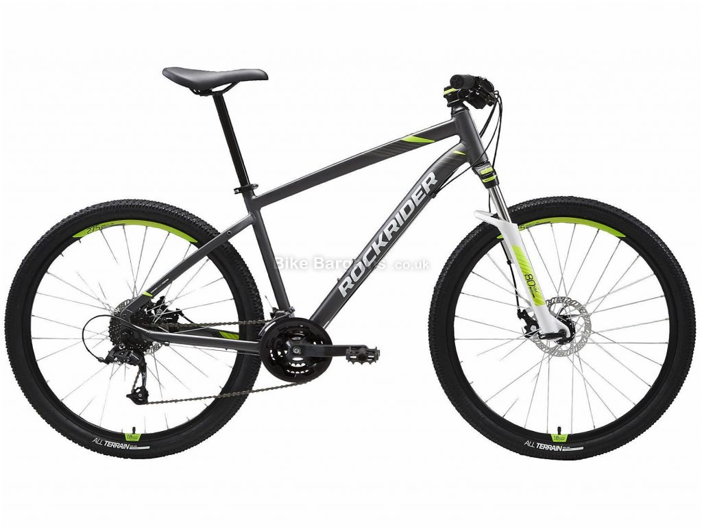 "B'twin Rockrider 27.5"" ST 520 V2 Alloy Hardtail Mountain Bike M, Grey, White, Green, Black, Alloy Frame, 27.5"" Wheels, 14.35kg, 24 Speed, Disc Brakes, Triple Chainring"