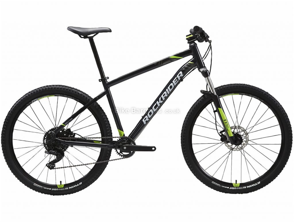 "B'twin Rockrider 27.5"" ST 530 Alloy Hardtail Mountain Bike S, Black, Green, Alloy Frame, 27.5"" Wheels, 13.7kg, 9 Speed, Disc Brakes, Single Chainring"