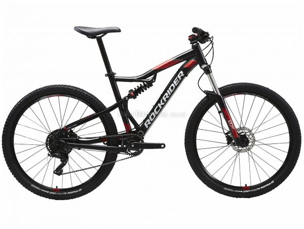 "B'twin Rockrider 27.5"" ST 530 S Alloy Full Suspension Mountain Bike M, Black, Red, Alloy Frame, 27.5"" Wheels, 15.4kg, 9 Speed, Disc Brakes, Single Chainring"