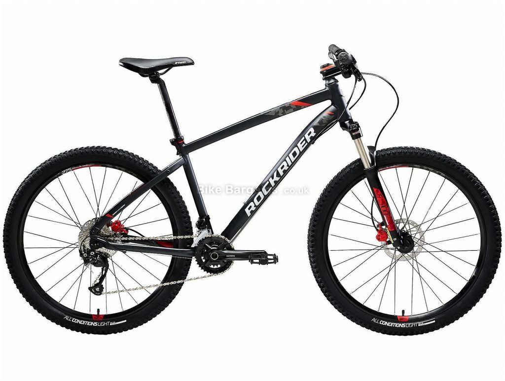 """B'twin Rockrider 27.5"""" ST 540 Alloy Hardtail Mountain Bike XL, Black, Red, Alloy Frame, 27.5"""" Wheels, 13.5kg, 18 Speed, Disc Brakes, Double Chainring"""