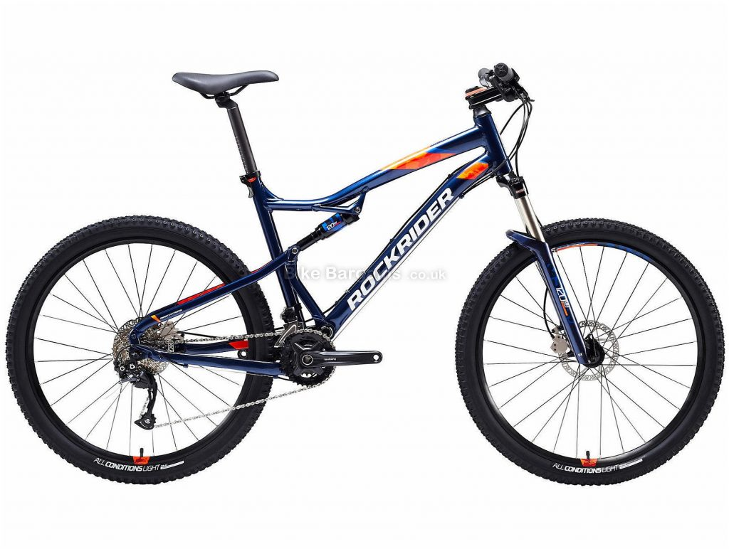 "B'twin Rockrider 27.5"" ST 540 S Alloy Full Suspension Mountain Bike XL, Blue, Orange, Alloy Frame, 27.5"" Wheels, 14.45kg, 18 Speed, Disc Brakes, Double Chainring"