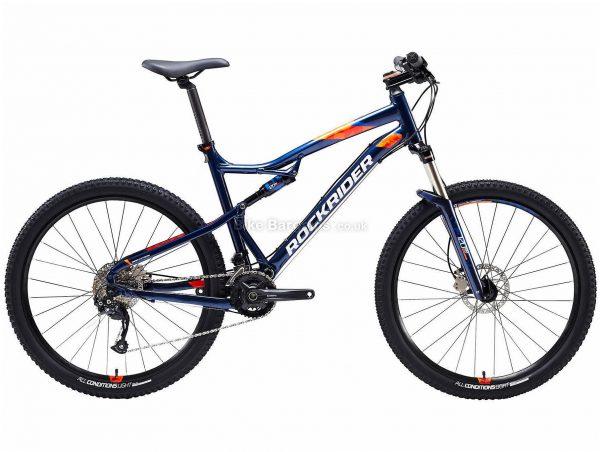 "B'twin Rockrider 27.5"" ST 540 S Alloy Full Suspension Mountain Bike XL, Blue, Orange, Alloy Frame, 27.5"" Wheels, 14.45kg, 18 Speed, Disc Brakes, Double Chainring"